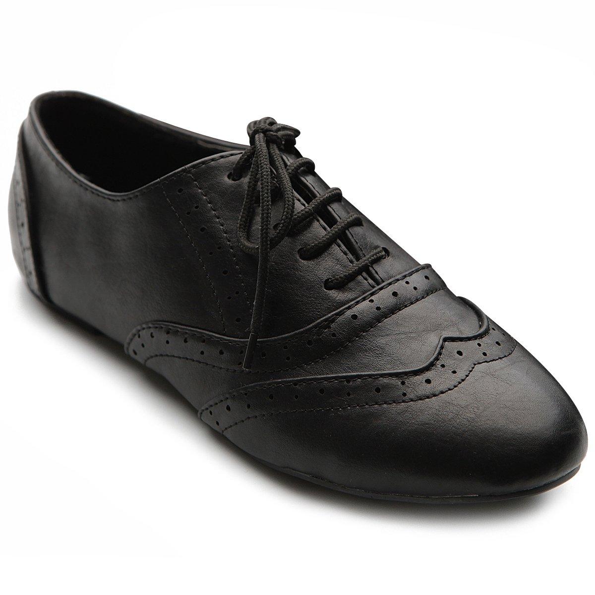 Ollio Women's Shoe Classic Lace up Dress Low Flat Heel Oxford M1914(8.5 B(M) US, Black)