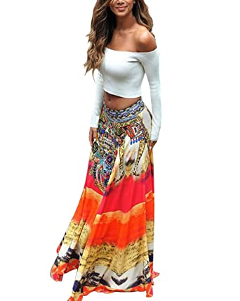 d062c3c6917f ZANZEA Women s Boho Hippie Gypsy Festival Jersey Maxi Dress Beach Holiday  Party Club Long Skirt Orange