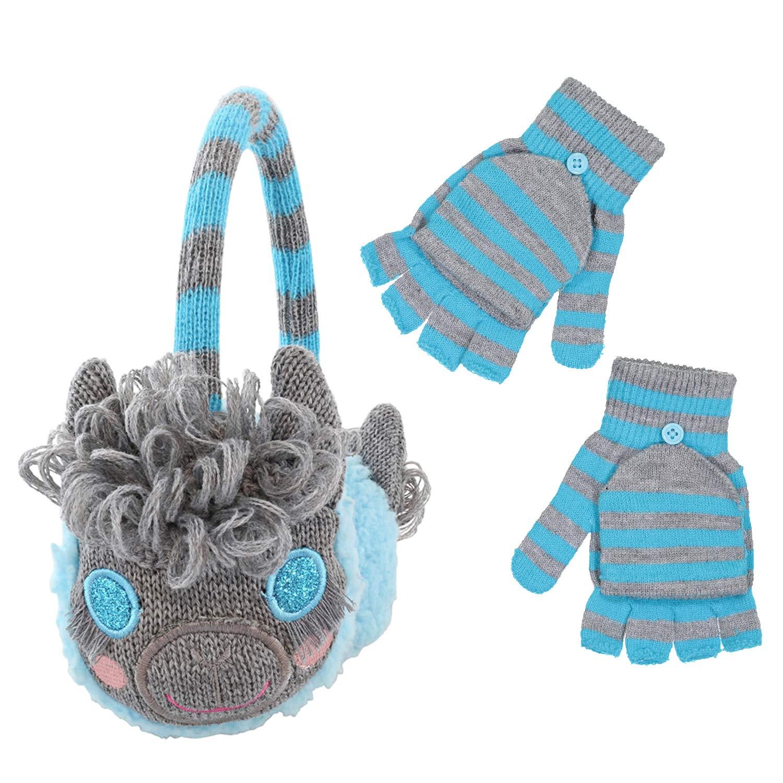4015 PEAK 2 PEAK Girls Knitted Llama Earmuff and Cut Finger Gloves with Cover Set