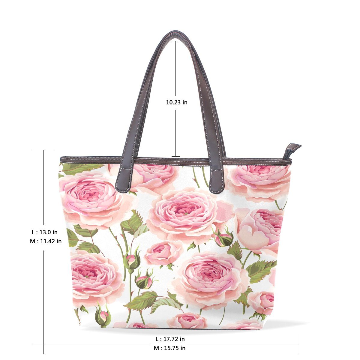 Ye Store Big Pink Rose Lady PU Leather Handbag Tote Bag Shoulder Bag Shopping Bag