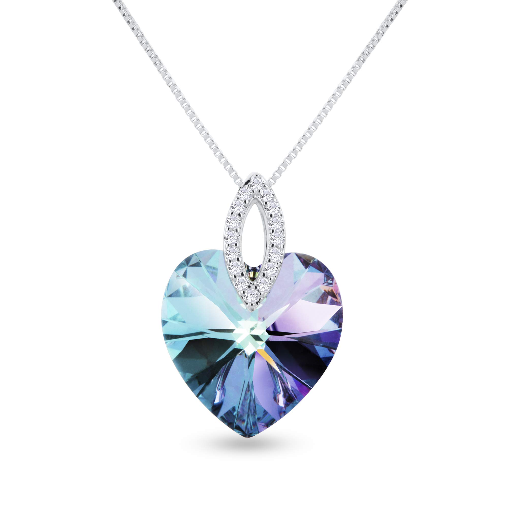 """Rosny Jewelry """"Rainbow Heart"""" Necklace Made with Swarovski Crystals (Rhodium Plated, 17"""" with 3"""" Extension, Lobster-Claw Clasp)"""