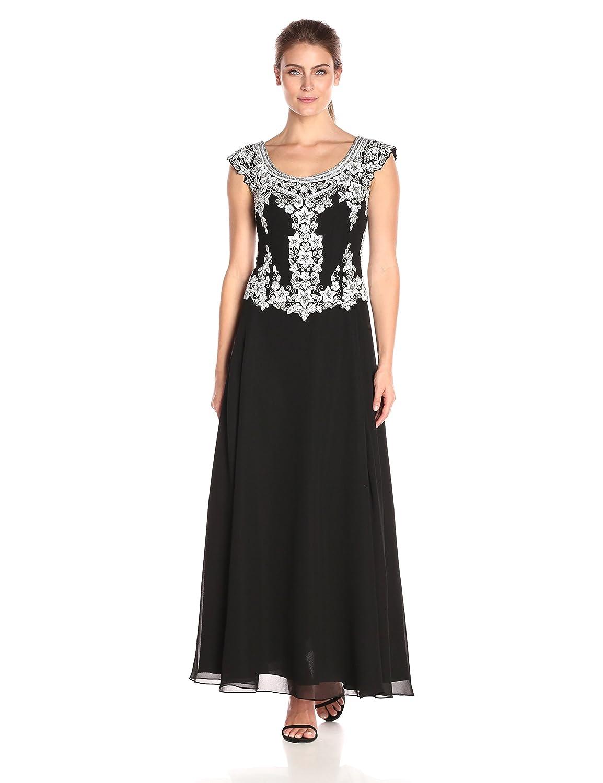 Black White Silver J Kara Women's Cap Sleeve Long Beaded Dress