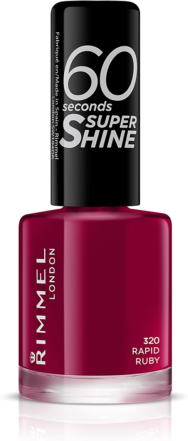 Rimmel London 60 Seconds Super Shine Esmalte de Uñas, 320 - Rapid Ruby