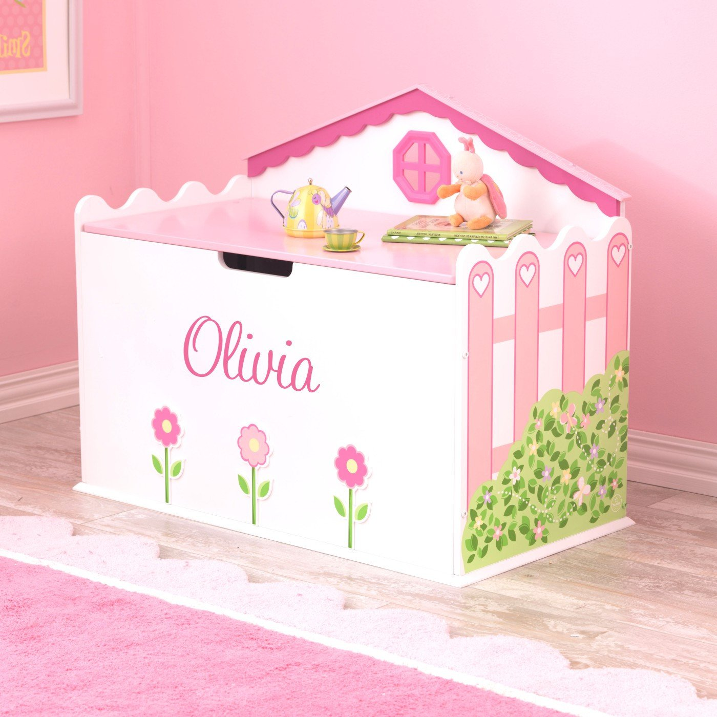 Personalized Hearts and Blooms Toy Box