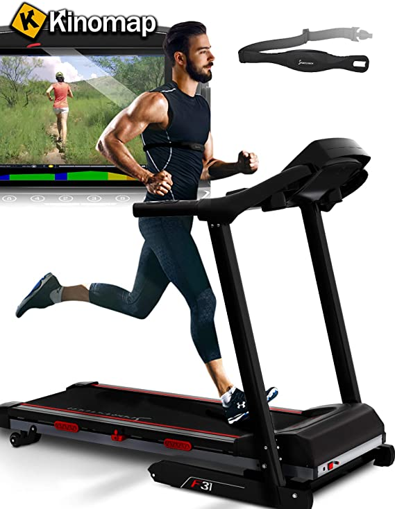 Sportstech F31 Professional Treadmill - German Quality Brand - Video Events & Multiplayer APP via LCD Monitor, Smartphone compatible 4PS 16km/h - Foldable and compact stowable