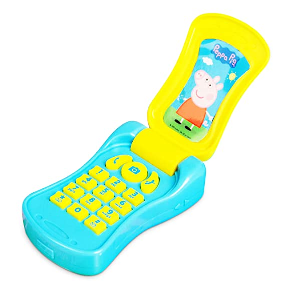 Hti Peppa Pig Flip Phone Electronic Mobile Toy Phone With Sounds