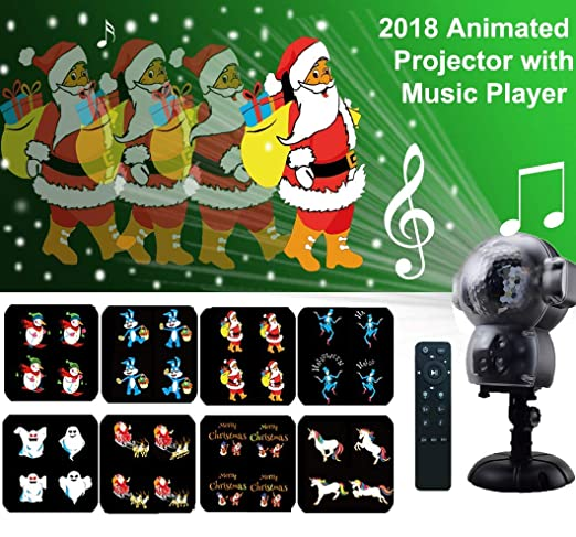 MINPE Christmas LED Snow Falling Animated Projector Light Waterproof with  Remote Control Timer and Music Player Anime Halloween Projection Lights
