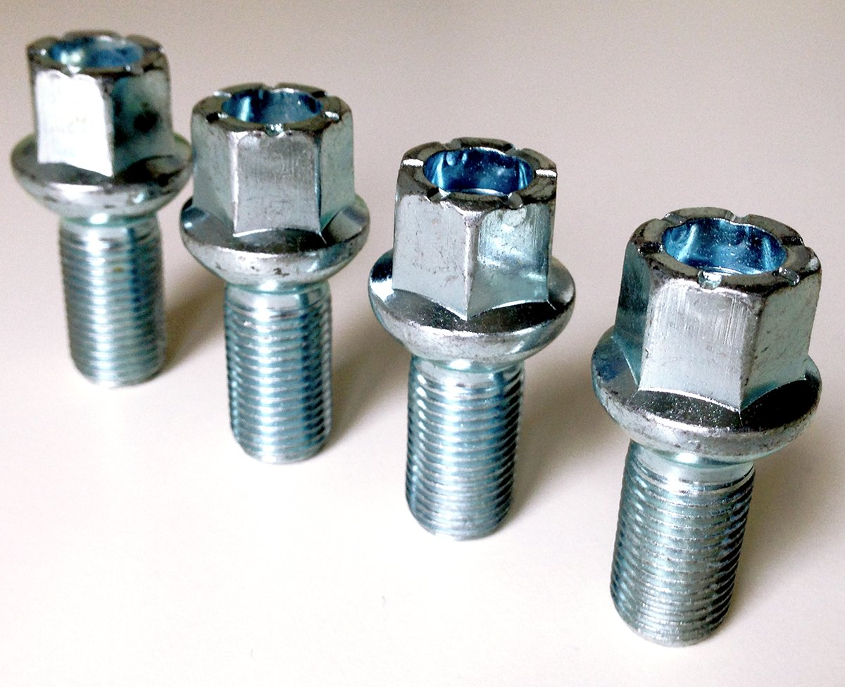 Set of 4 alloy wheel bolts M14 x 1.5 thread 27mm long radius seat 17mm Hex suitable for Mercedes