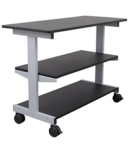 amazon com side desk shelves bookcase on wheels kitchen dining rh amazon com table with shelves and drawers table with shelves on top