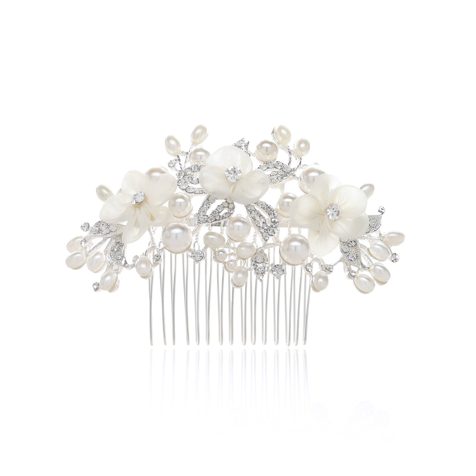 SWEETV Ivory Flower Wedding Hair Comb Pearl Clip Bridal Headpieces Women Hair Accessories for Brides