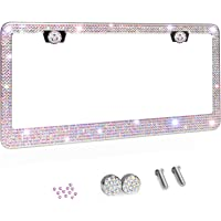 Tchipie 1 Pack Bling Rhinestone License Plate Frames, Bedazzled Sparkly Cute Diamond Car License Plate Frame, Glitter…