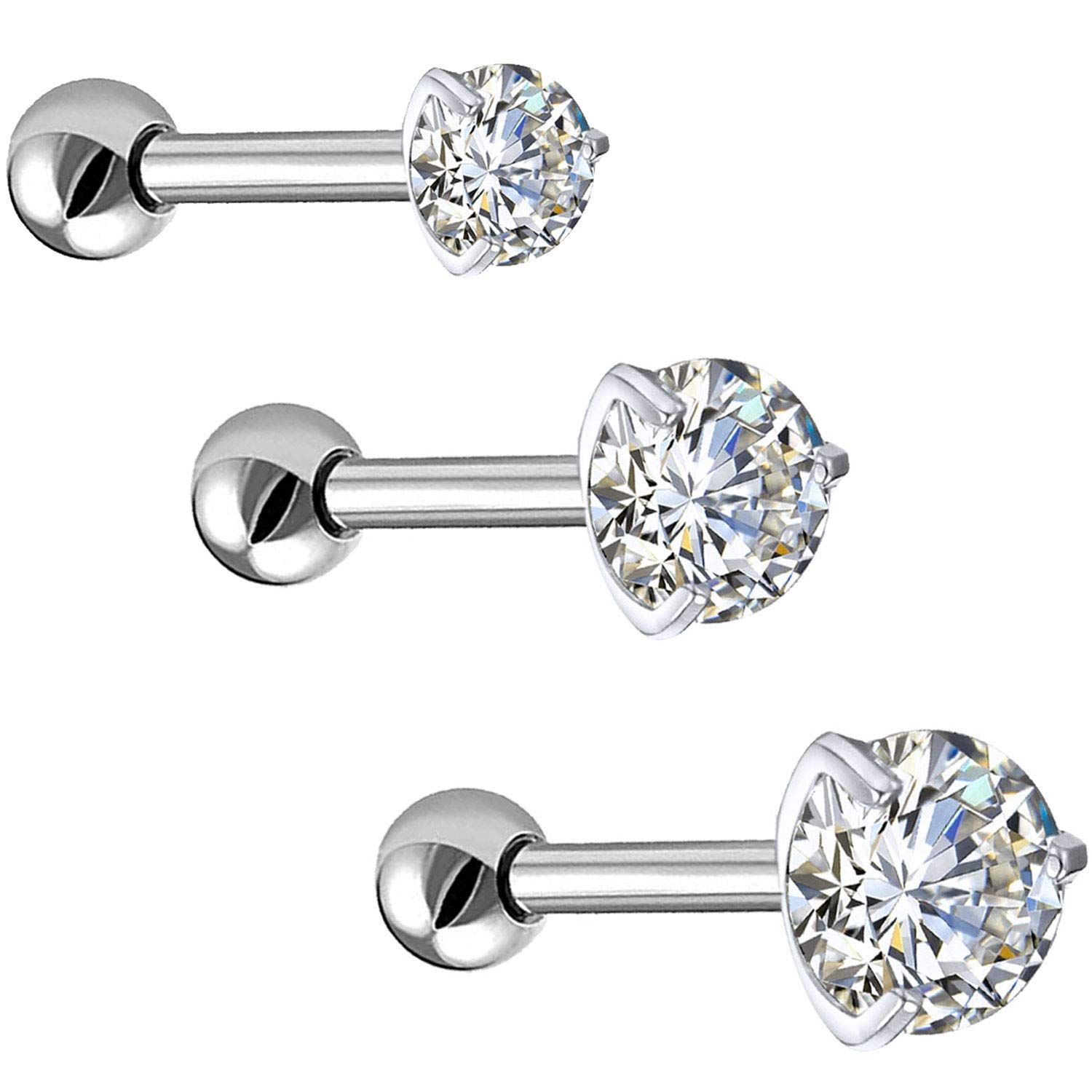 Bodyj4you 3pc Tragus Earrings Cartilage Studs 16g Daith Labret Lip Cz Steel Barbell Jewelry Set