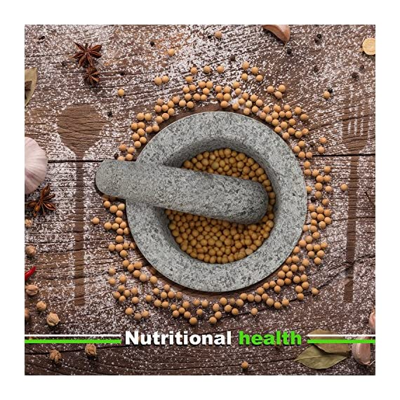 """Anzone Mortar and Pestle, Unpolished Granite,Spice Crusher ,5.9 Inch 3 Our finely designed solid set is made of genuine natural granite. Dimensions: 5.9 """" Diameter x 3.9"""" tall bowl,5.9"""" Pestle Length. The molcajete is used for effectively grinding, crushing, mixing, mashing herbs, spices, nuts, ginger, garlic and other assorted things to very fine powder or paste. Its heavy weight easily perform grinding. You can control the degree of crushing with ease.."""