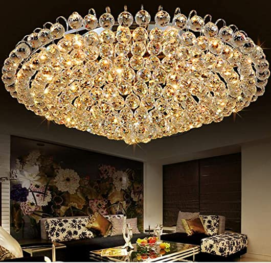 A Million Luxury Crystal Chandelier Flush Mount 31.5″ Modern Minimalist Design Pendant 15-Light Ceiling Light Fixture