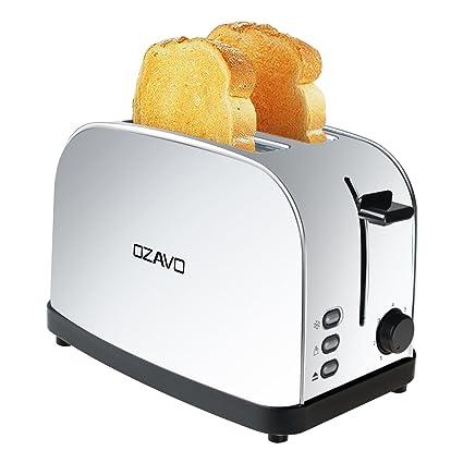 OZAVO Tostadora con Capacidad para 2 Rebanada, Tostadora para Tostadas Pan de Acero Inoxidable Automática 2 Discos, 3 Funciones de Descongelar, ...