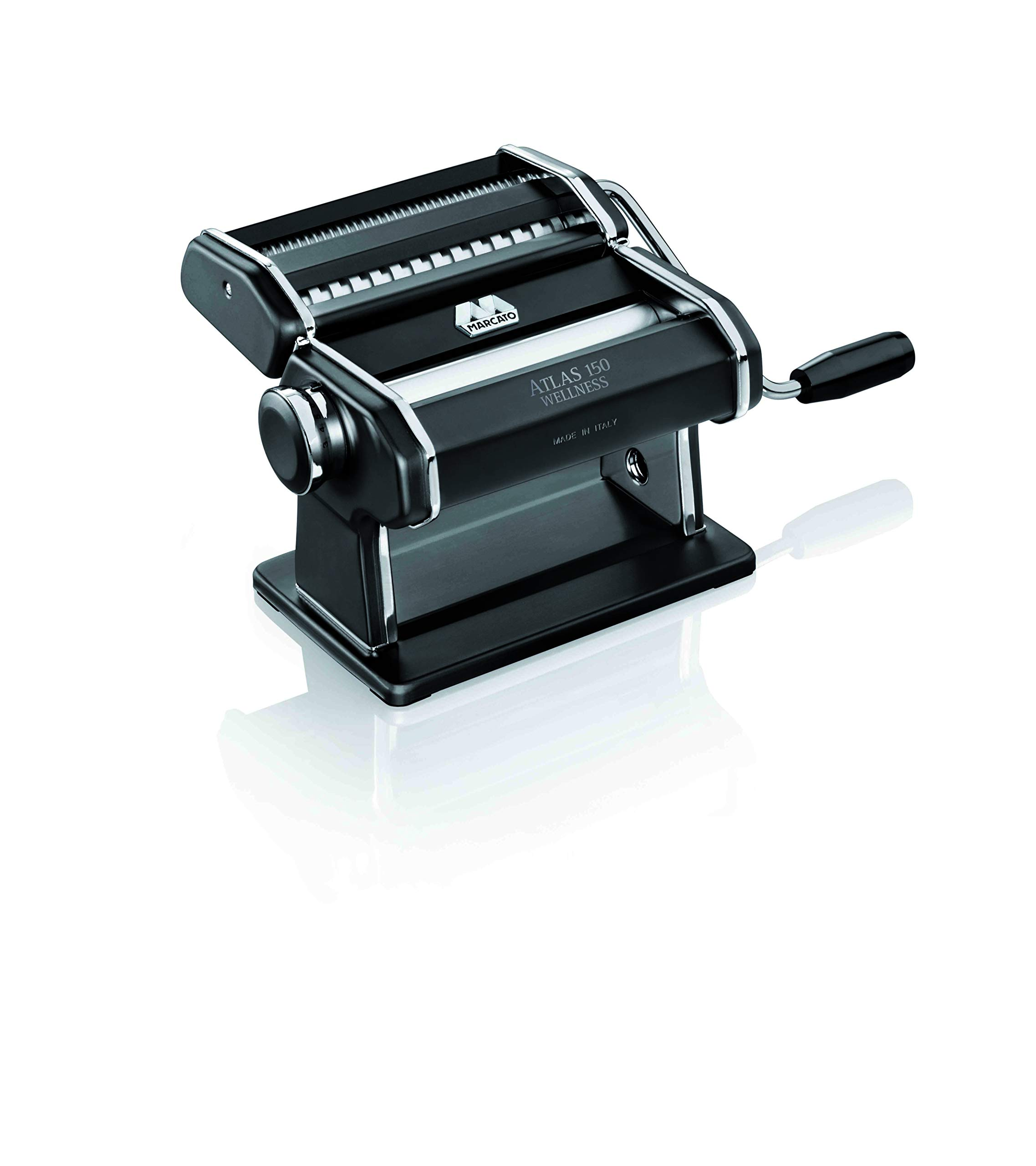 Marcato Atlas Pasta Machine, Made in Italy, Black, Includes Pasta Cutter, Hand Crank, and Instructions by Marcato