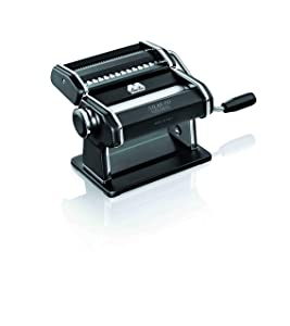 Marcato Atlas Pasta Machine, Made in Italy, Black, Includes Pasta Cutter, Hand Crank, and Instructions