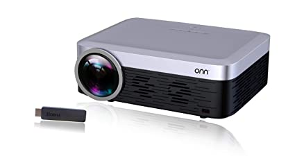 ONN ONA19AV901 Full HD 1080p Native 920X1080 Portable Projector (Includes  Roku Streaming Stick) Super Bright 3100 LUMENS UP to 165 Picture Size