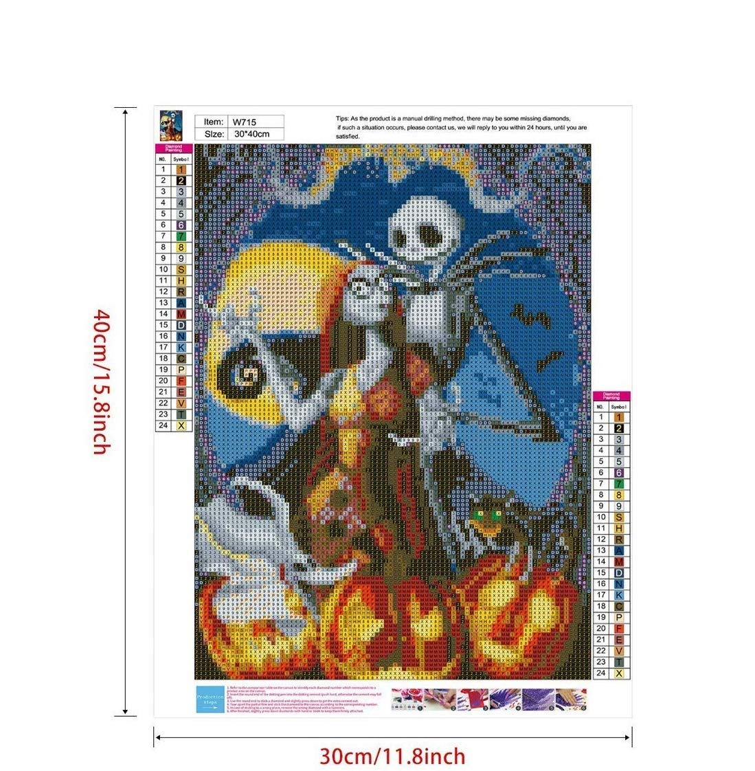 Halloween Skull Jack and Sally Style 1 TENU 2 Pack 5D Full Drill Diamond Painting Kit,DIY Diamond Rhinestone Painting Kits for Adults and Beginner Embroidery Arts Craft Home Decor,16 X 12 Inch