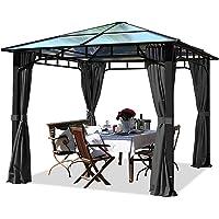 TOOLPORT Cenador de jardín 3x3m Impermeable ALU Deluxe Techo de policarbonato Pabellón 8mm Cenador 4 Lados Carpa Fiesta…