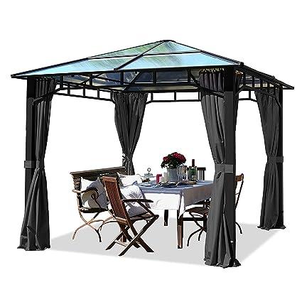 Toolport Gartenpavillon 3x3m Wasserdicht Alu Deluxe Polycarbonat Dach 8mm Pavillon 4 Seitenteile Partyzelt Grau 9x9cm Profil