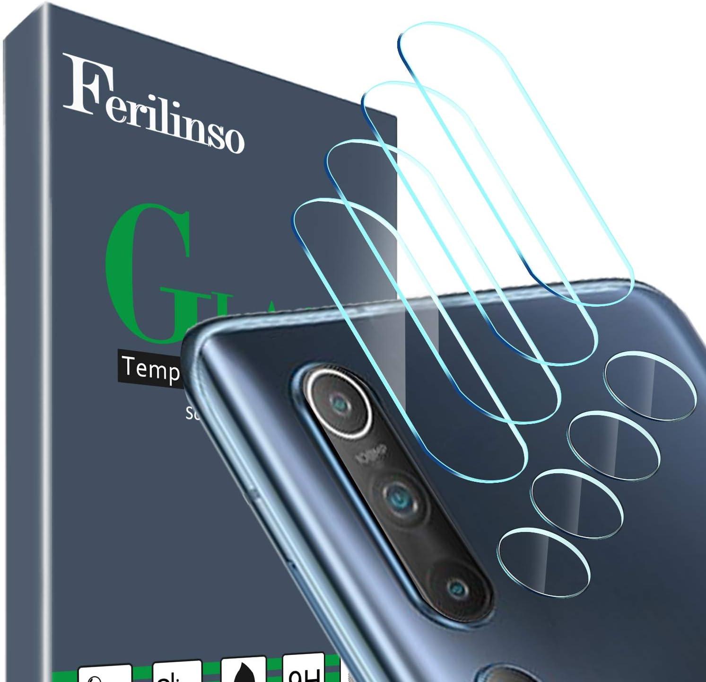 Ferilinso Protector de Lente de cámara para Xiaomi Mi 10 5G Protector de Lente de cámara, [4 Pack] Película de protección de Vidrio Templado sin Burbujas(Claro)
