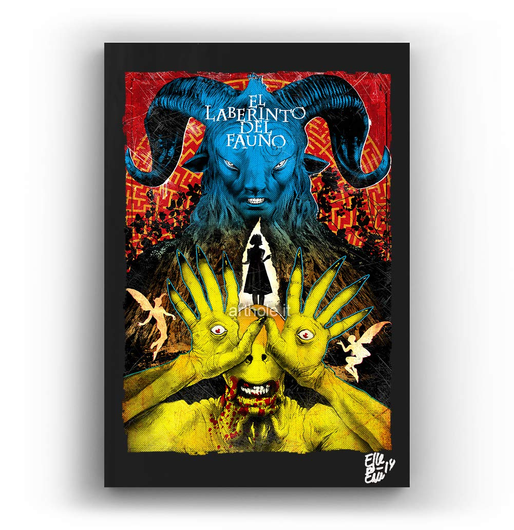 Pan's Labyrinth Movie by Guillermo del Toro - Pop-Art Original Framed Fine Art Painting, Image on Canvas, Artwork, Movie Poster