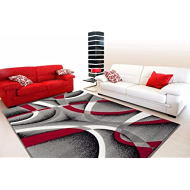2305 Gray Black Red White Swirls 7'10 x 10'6 Modern Abstract Area Rug Carpet