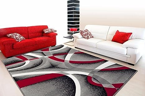 Amazon.com: 2305 Gray Black Red White Swirls 5\'2 x7\'2 Modern ...