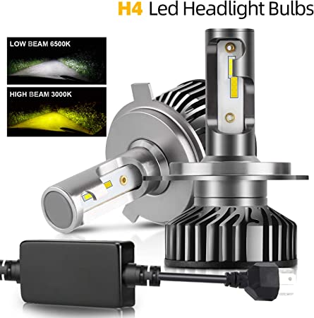 COLIGHT LED Headlight Bulbs H4//9003//HB2 Conversion Replacements Yellow Amber 3000K White 6000K Dual Color Temperature 72W 12000lumens Hi//Lo Beam DRL Waterproof ZES Chips Fog Lights