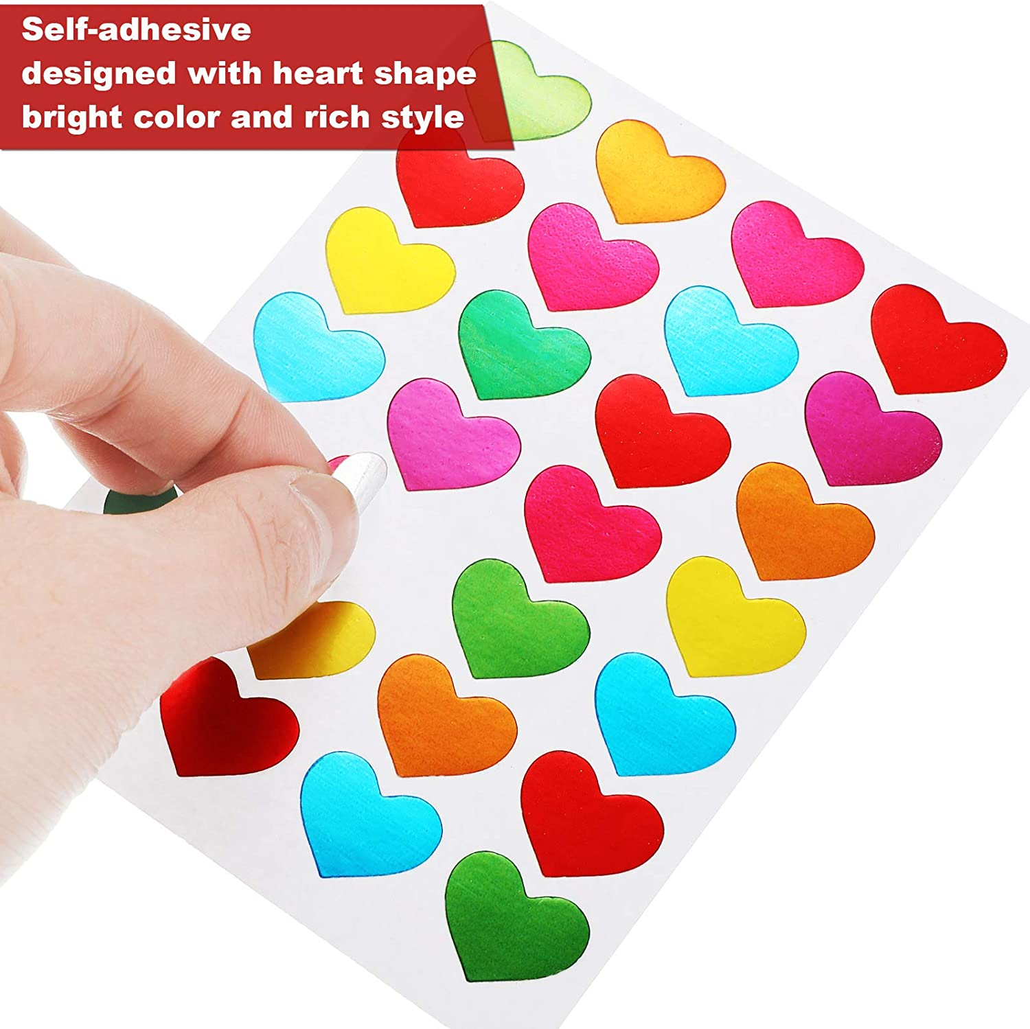 Colorful 140 Sheets Love Heart Stickers Heart Shape Decorative Sticker Glitter Valentines Day Stickers for Happy Valentines Day Decoration Wedding Party Accessories