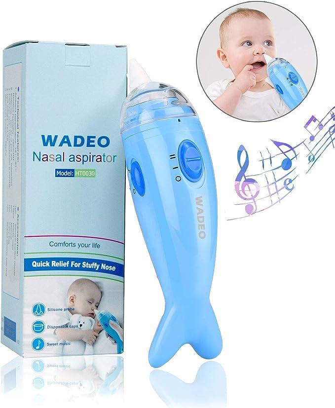 WADEO Aspirador Nasal Bebes Electrico Seguro Limpiar Nariz Bebe Limpiador de Nariz Mocos Eléctrico Música Ajustable 2 Niveles de Succión para Recién Nacidos y Niños: Amazon.es: Electrónica