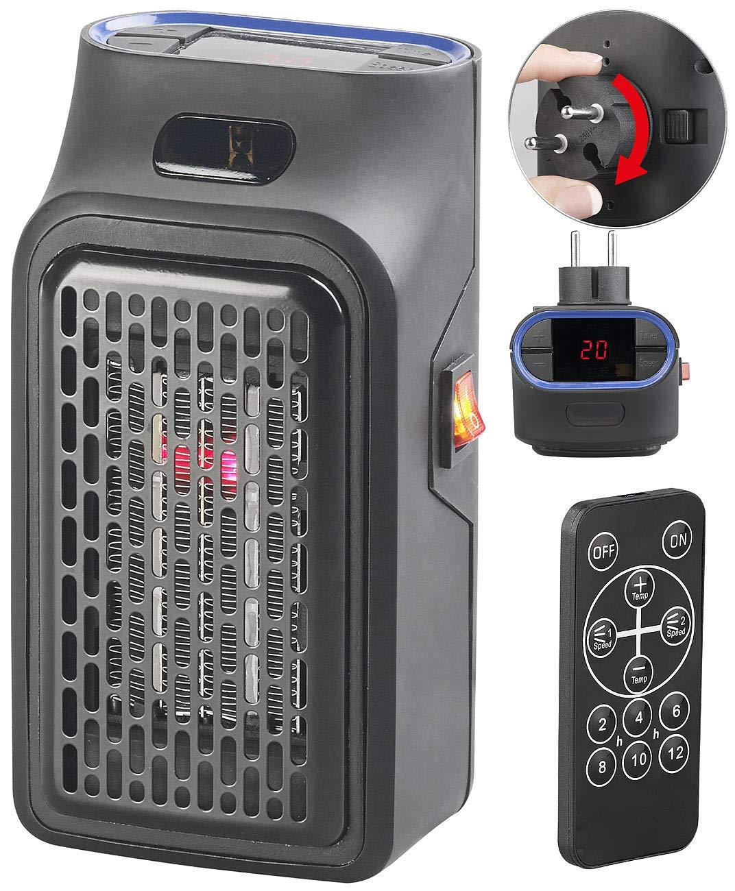 Sichler Haushaltsgerä te Handy Heater: Mini-Steckdosen-Heizlü fter mit Timer & Fernbedienung, 2-stufig, 500 W (Mini Heizer) Sichler Haushaltsgeräte