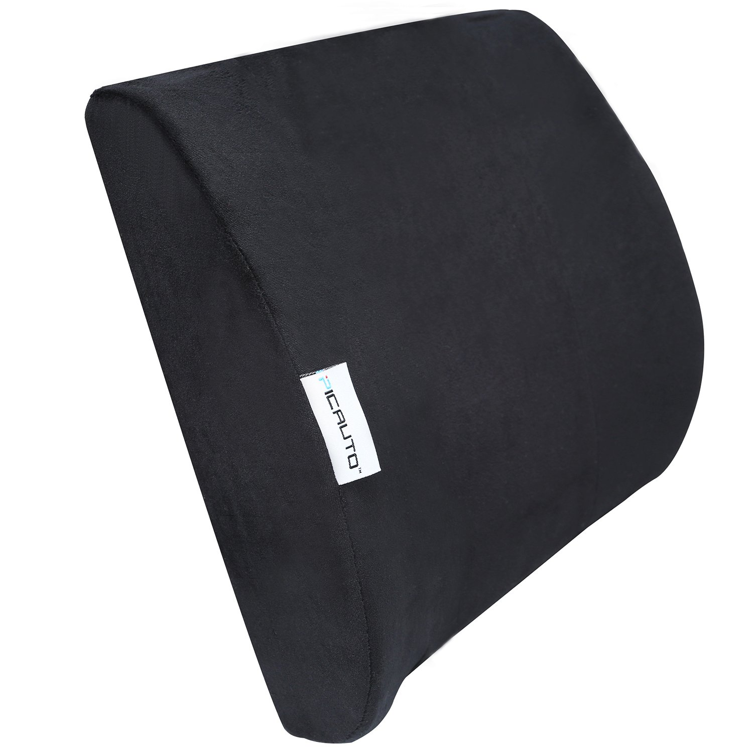 PIC AUTO Lumbar Support Back Cushion for Car, Truck, Bed, Office, Airplane; Memory Foam Back Support for Lower Back Pain Relief, Black