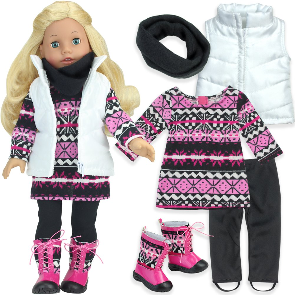 Sophia's Pink Aztec Print Set of 5 Pieces for 18 Inch Dolls Includes Boots Sophia's