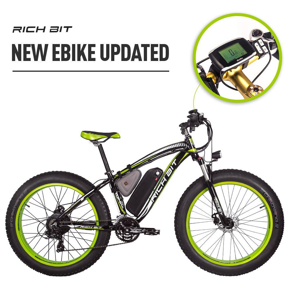 RICH BIT 1000W/48V/17AH Vélos électriques VTT 26''*4'' Gros Pneu 7 Niveaux de pédale assistée Affichage LCD Compteur de Vitesse 45-65KM Lithium-ION Battery product image