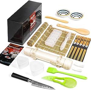 Sushi Making Kit, Delamu 21 in 1 Sushi Maker Bazooker Roller Kit with Bamboo Mats, Chef's Knife, Triangle/Nigiri/Gunkan Sushi Rice Mold, Chopsticks, Sauce Dishes, Rice Spreader, User Guide