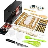 Sushi Making Kit, Delamu 22 in 1 Sushi Maker Bazooker Roller Kit with Bamboo Mats, Chef's Knife, Triangle/Nigiri/Gunkan Sushi