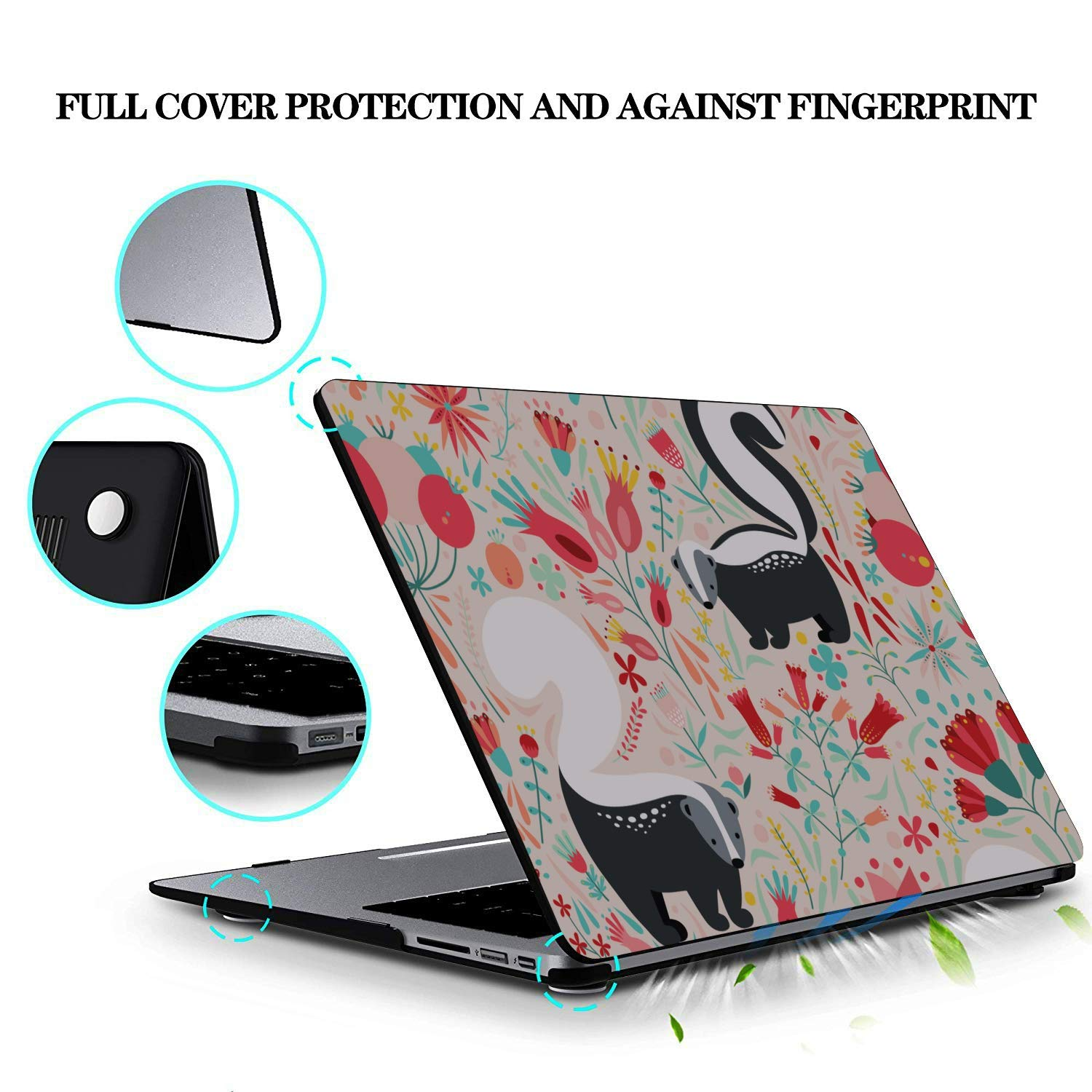 MacBook Case 13 Inch Spring Cartoon Skunk Flowers Leaf Plastic Hard Shell Compatible Mac Air 11 Pro 13 15 MacBook Pro Screen Protector Protection for MacBook 2016-2019 Version