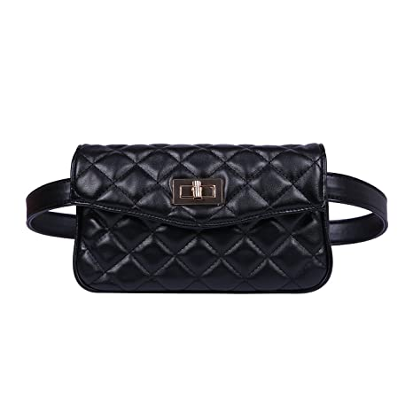 f401944478a9 Amazon.com | HDE Quilted Fanny Pack Faux Leather Fashion Belt Bag Waist Pack  for Women with 2 Belts | Waist Packs