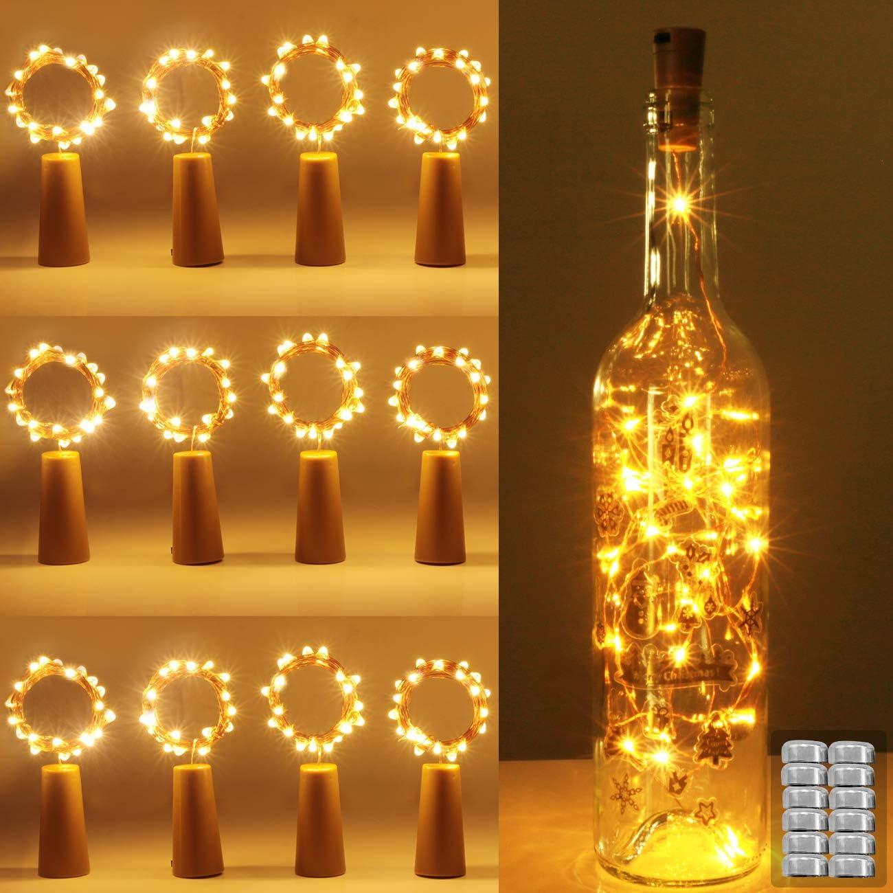 luz de Botella, Kolpop luz Corcho, luces led para Botellas de Vino 2m 20 LED a Pilas Decorativas Cobre Luz para Romántico Boda, Navidad, Fiesta, Hogar, Exterior, Jardín,Blanco Cálido(12 Pack): Amazon.es: Iluminación