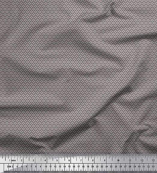 Soimoi Gris gasa de algodon Tela punto y geométrica tela de camisa ...