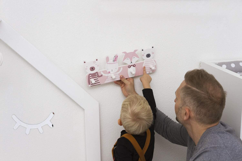 Porte-manteau pour enfant avec 4 crochets Pour chambre denfants de nombreux motifs Crochets muraux dimensions : environ : 40 x 15 x 1 cm Portemanteau mural