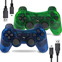 Wireless Controller for PS3 Playstation 3 Dual Shock 3 (2 Packs, Transparent Green and Transparent Blue)