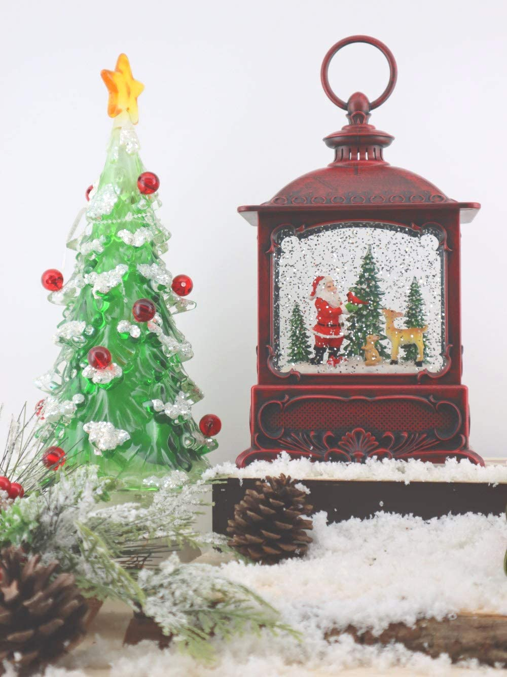 Victory Creative Santa Christmas Lighted Water Globe Lantern 8.75 H Musical Snow Globe with Swirling Glitter Battery Operated /& Timer.