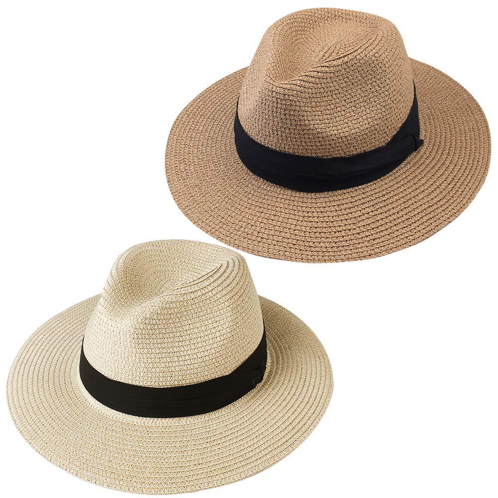 FURTALK Panama Hat Sun Hats for Women Men Wide Brim Fedora Straw Beach Hat UV UPF 50 Medium Size (22'-22.8'), 2 Pcs Beige/Dark Khaki