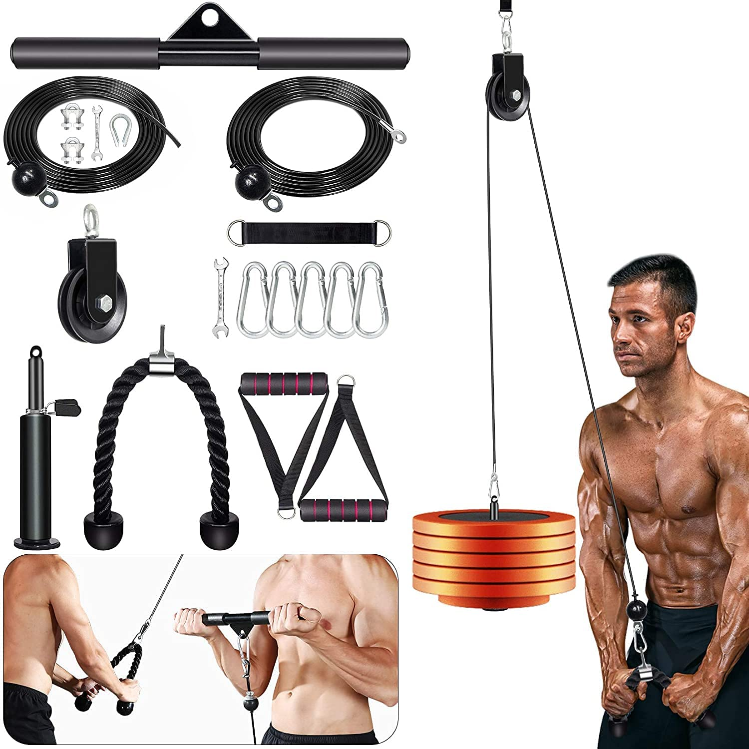 Outify Pulley System Gym, LAT Pull Down Machine with 2 Adjustable Cable Pulley Attachments for Gym, 3 in 1 Triceps Pulley Cable Machine System, LAT Bar, Fitness Home Gym Workout Equipment(17 Pieces)