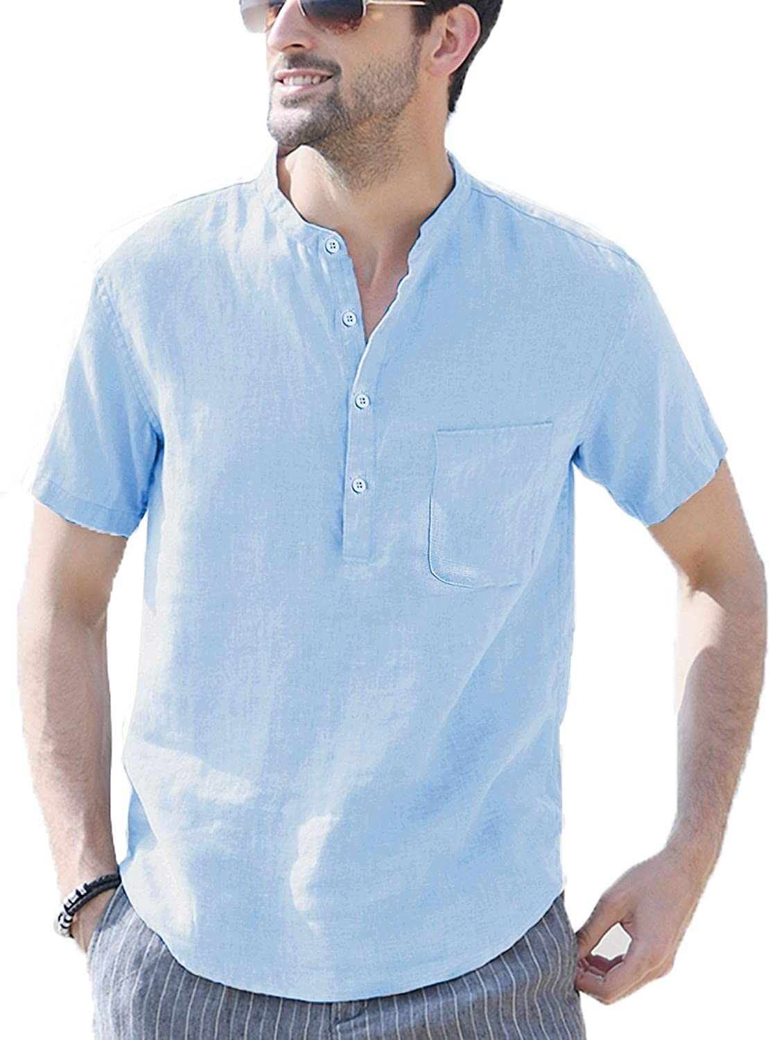 LecGee Mens Cotton Linen Henley Shirt Short Sleeve Hippie Casual Beach T Shirts with Pocket