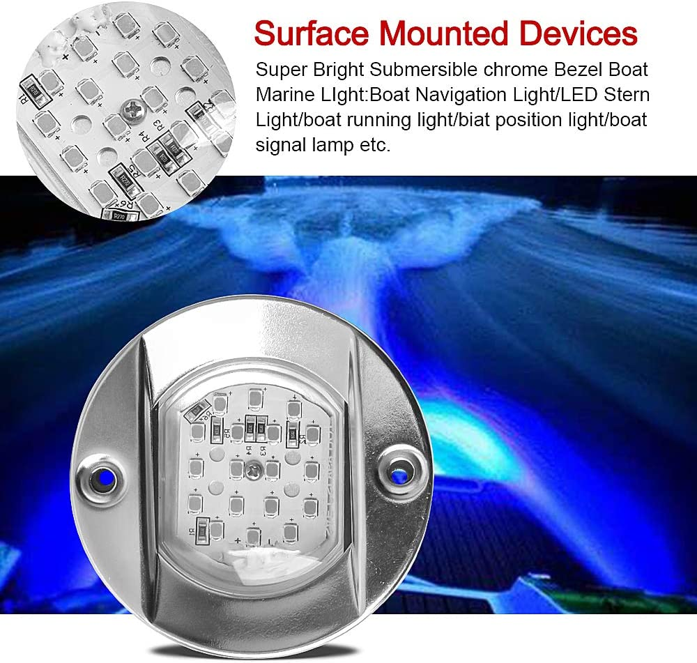 HUSUKU 18LED Round Waterproof Stainless Steel Trim Ring Boat High-Intensity LED Underwater Light Anchor Lights Clear Lens Pontoon Marine//Boat Transom