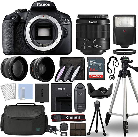 Canon EOS 2000D / Rebel T7 Digital SLR Camera With Complete Accessory Bundle